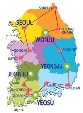 Circle of Korea Tour Map