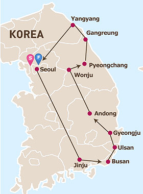 East Korea Tour Map