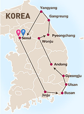 7 Days Seoul and Eastern  Korea Tour Map