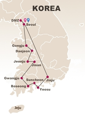 7 Days Seoul and Western Korea Tour Map