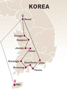 10 Days West Korea and Seoul Tour Map